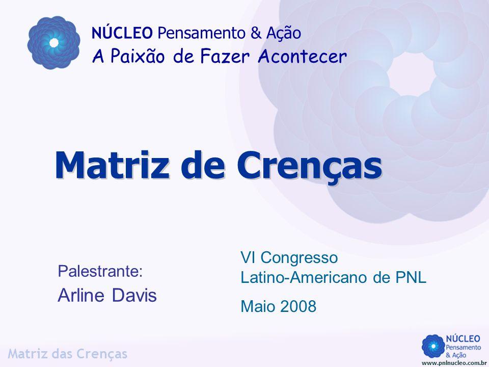 www.pnlnucleo.com.br Matriz das Crenças Palestrante: Arline Davis Matriz de Crenças NÚCLEO Pensamento & Ação A Paixão de Fazer Acontecer VI Congresso