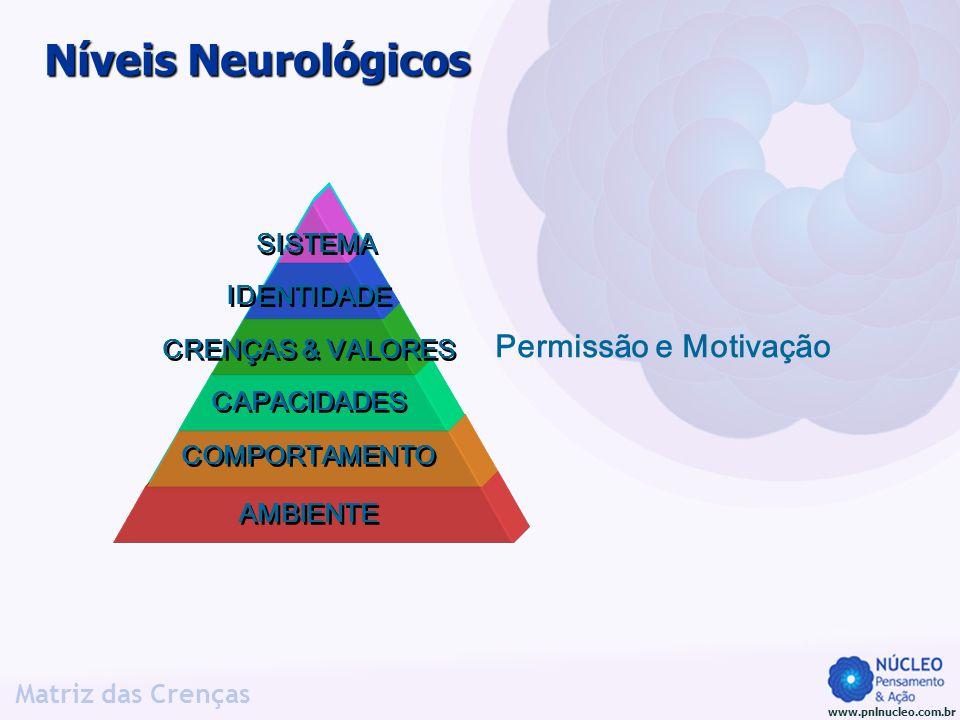 www.pnlnucleo.com.br Matriz das Crenças Níveis Neurológicos AMBIENTE COMPORTAMENTO CRENÇAS & VALORES CAPACIDADES IDENTIDADE SISTEMA Permissão e Motiva