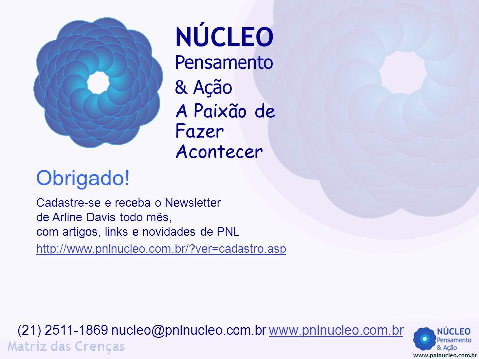 www.pnlnucleo.com.br Matriz das Crenças (21) 2511-1869 nucleo@pnlnucleo.com.br www.pnlnucleo.com.brwww.pnlnucleo.com.br Obrigado! NÚCLEO Pensamento &