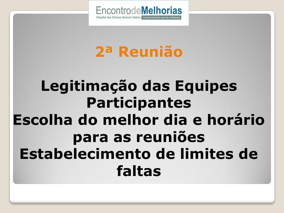 2ª Reunião Legitimação das Equipes Participantes Escolha do melhor dia e horário para as reuniões Estabelecimento de limites de faltas