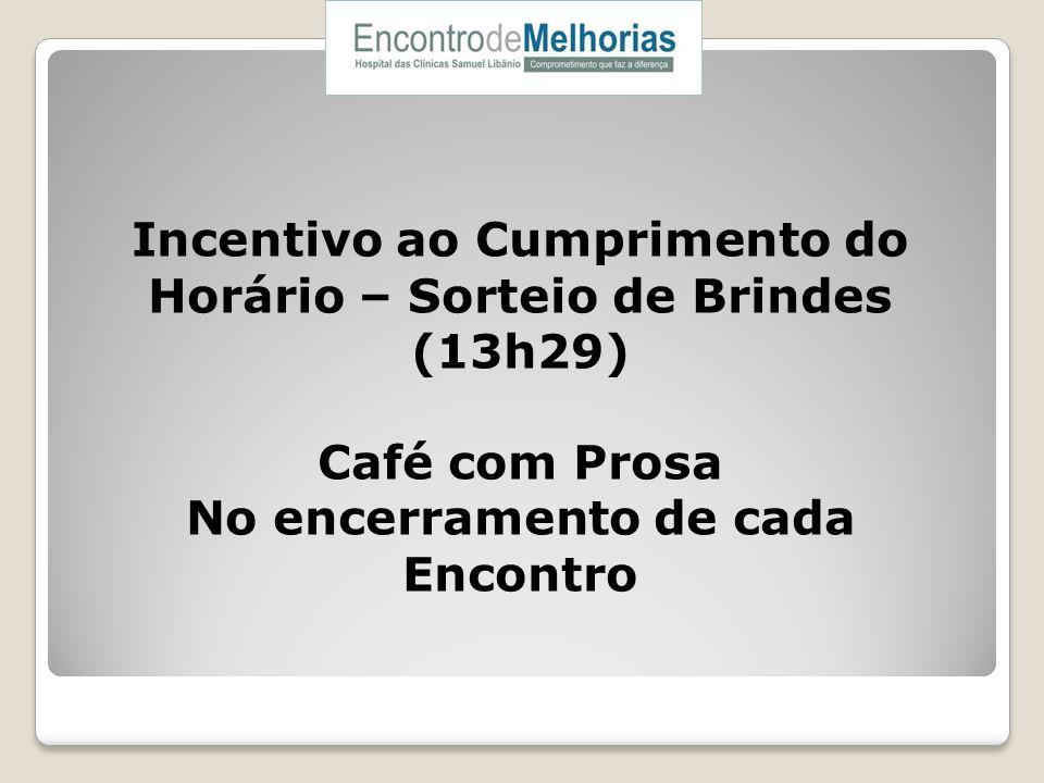 Incentivo ao Cumprimento do Horário – Sorteio de Brindes (13h29) Café com Prosa No encerramento de cada Encontro