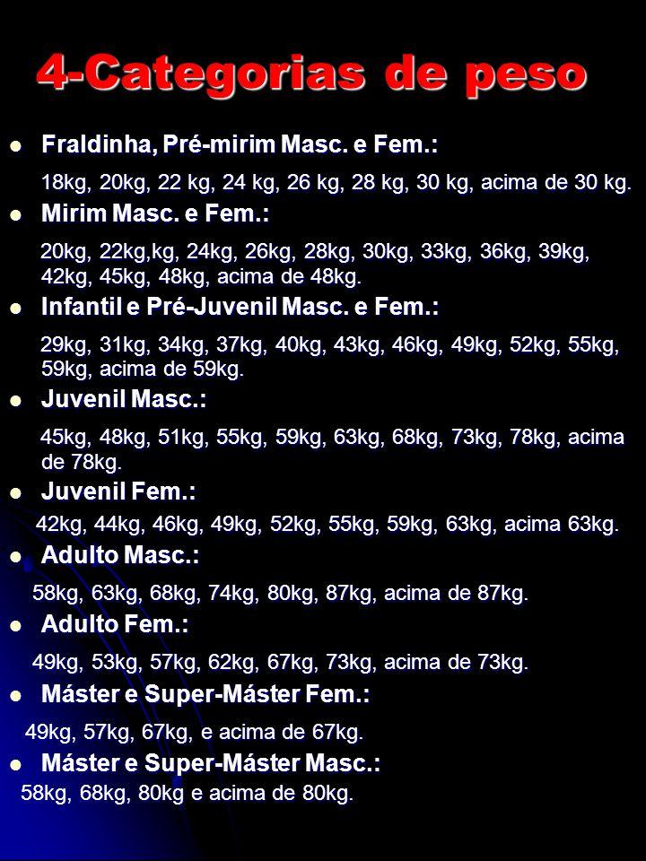 Fraldinha, Pré-mirim Masc. e Fem.: Fraldinha, Pré-mirim Masc. e Fem.: 18kg, 20kg, 22 kg, 24 kg, 26 kg, 28 kg, 30 kg, acima de 30 kg. 18kg, 20kg, 22 kg