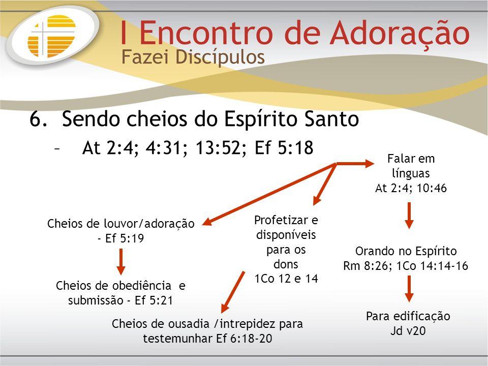 Falar em línguas At 2:4; 10:46 Profetizar e disponíveis para os dons 1Co 12 e 14 Orando no Espírito Rm 8:26; 1Co 14:14-16 Para edificação Jd v20 Cheio