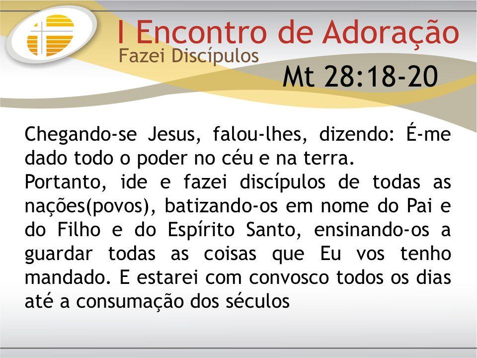 Mt 28:18-20 Chegando-se Jesus, falou-lhes, dizendo: É-me dado todo o poder no céu e na terra.