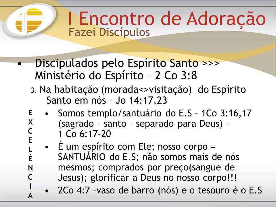 Discipulados pelo Espírito Santo >>> Ministério do Espírito – 2 Co 3:8 3. Na habitação (morada<>visitação) do Espírito Santo em nós – Jo 14:17,23 Somo