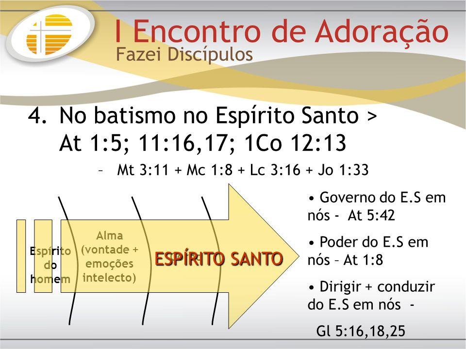 4.No batismo no Espírito Santo > At 1:5; 11:16,17; 1Co 12:13 –Mt 3:11 + Mc 1:8 + Lc 3:16 + Jo 1:33 Espírito do homem Alma (vontade + emoções intelecto