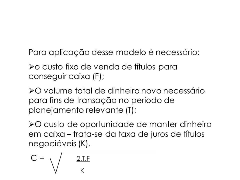 MODELO DE BAUMOL Este modelo estipula os saldos de caixa transacionais considerando os custos implícitos e sua manutenção. Objetiva determinar o valor