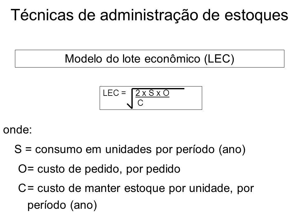 Técnicas de administração de estoques O sistema ABC classifica os estoques em três grupos, em ordem decrescente de importância, baseado no montante in