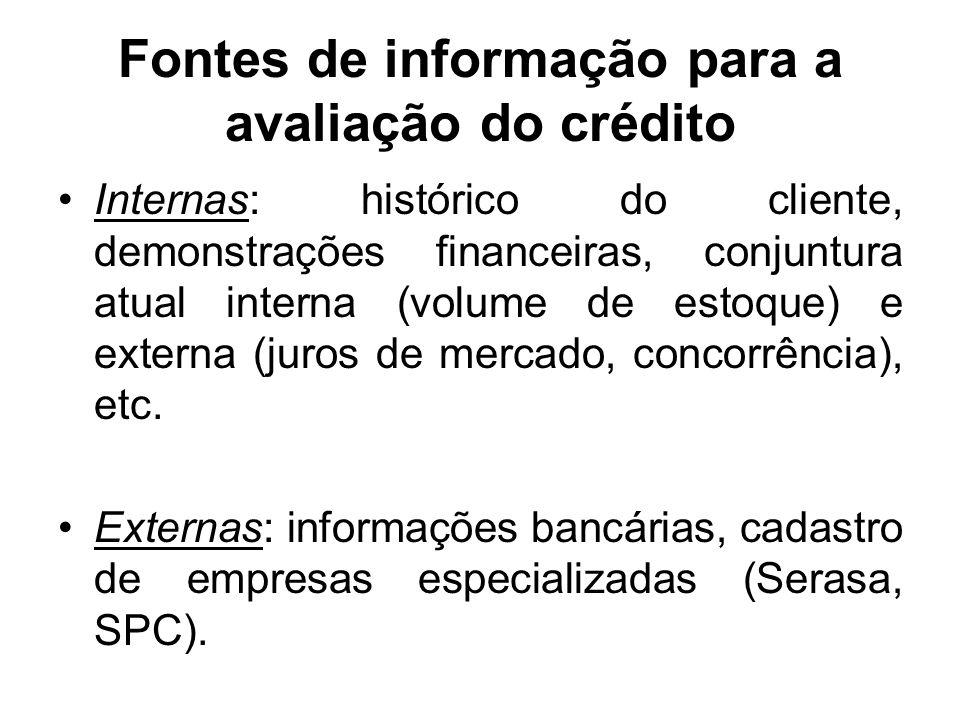 Os 5 Cs do crédito Caráter: histórico de cumprimento de obrigações passadas. Capacidade: capacidade de ressarcir o crédito pedido (ênfase na liquidez)