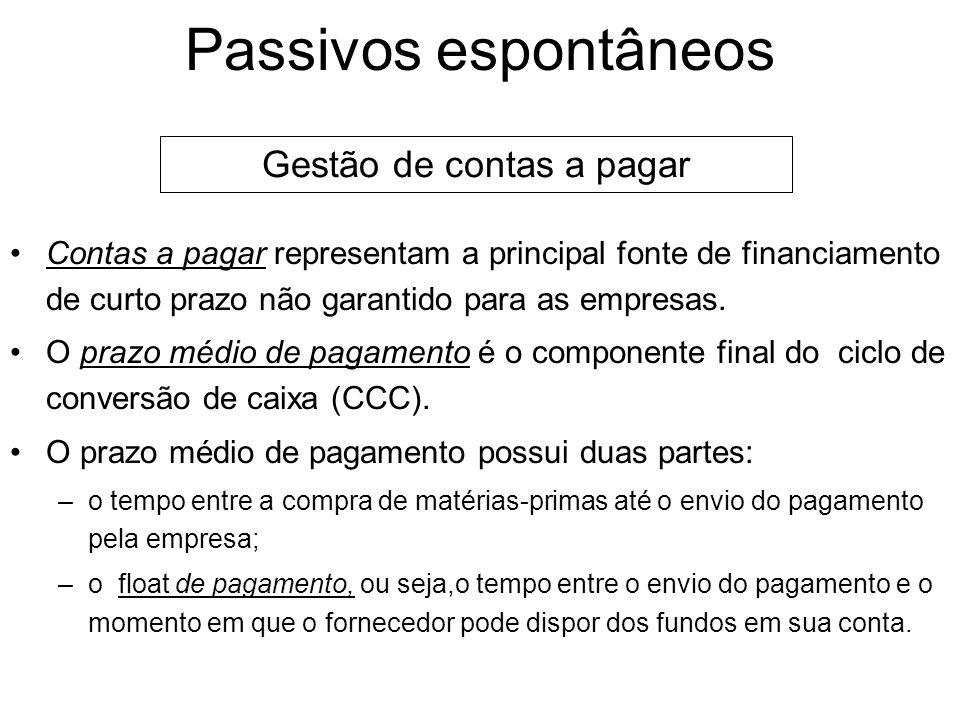 Passivos espontâneos Passivos espontâneos resultam do andamento normal das operações da empresa. As duas principais fontes de passivos espontâneos são