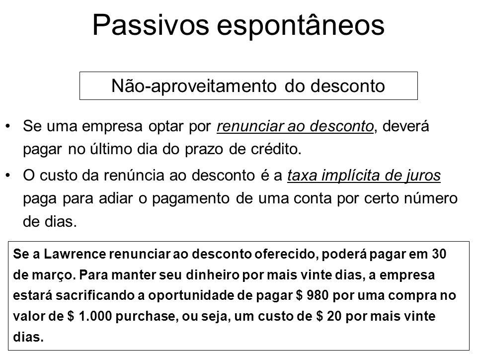 Passivos espontâneos Aproveitamento do desconto Se uma empresa pretende aproveitar um desconto por pagamento rápido, deve pagar no último dia do prazo