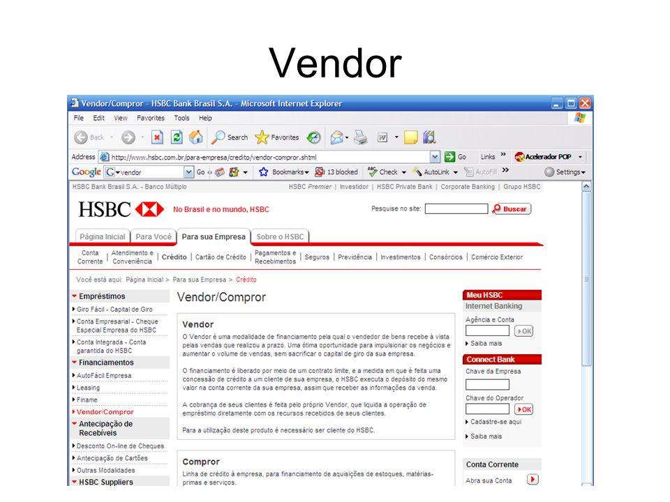Principais fontes de financiamento de CG no Brasil: –Vendor ; –Compror; –Crédito rotativo; –Desconto de títulos (Penhor de Duplicata, Cheque e Cartão)