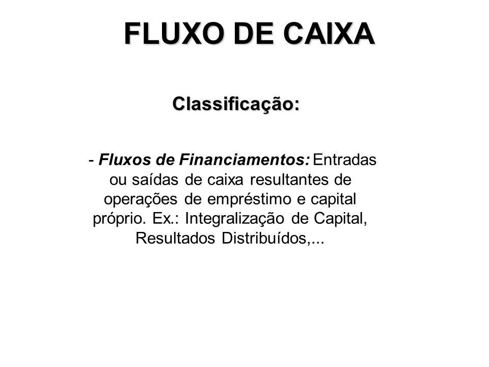FLUXO DE CAIXA Classificação: - Fluxos Operacionais: entradas e saídas de caixa diretamente relacionadas à produção e venda dos produtos e serviços da