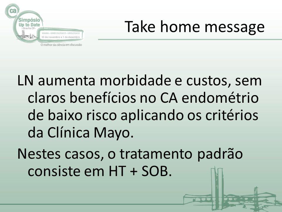 Take home message LN aumenta morbidade e custos, sem claros benefícios no CA endométrio de baixo risco aplicando os critérios da Clínica Mayo.