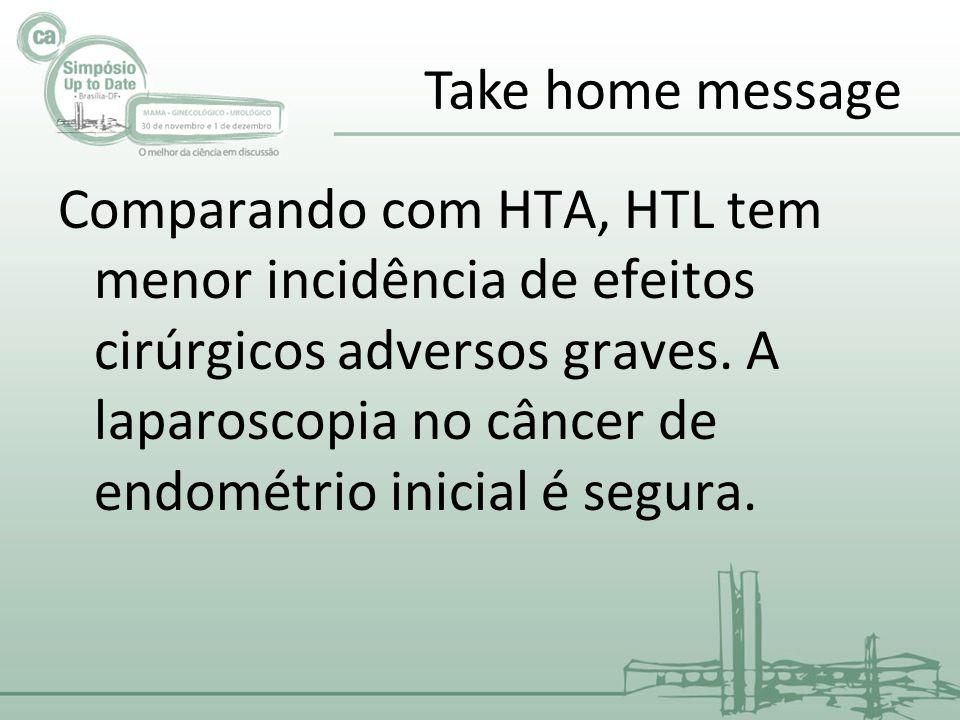 Take home message Comparando com HTA, HTL tem menor incidência de efeitos cirúrgicos adversos graves.