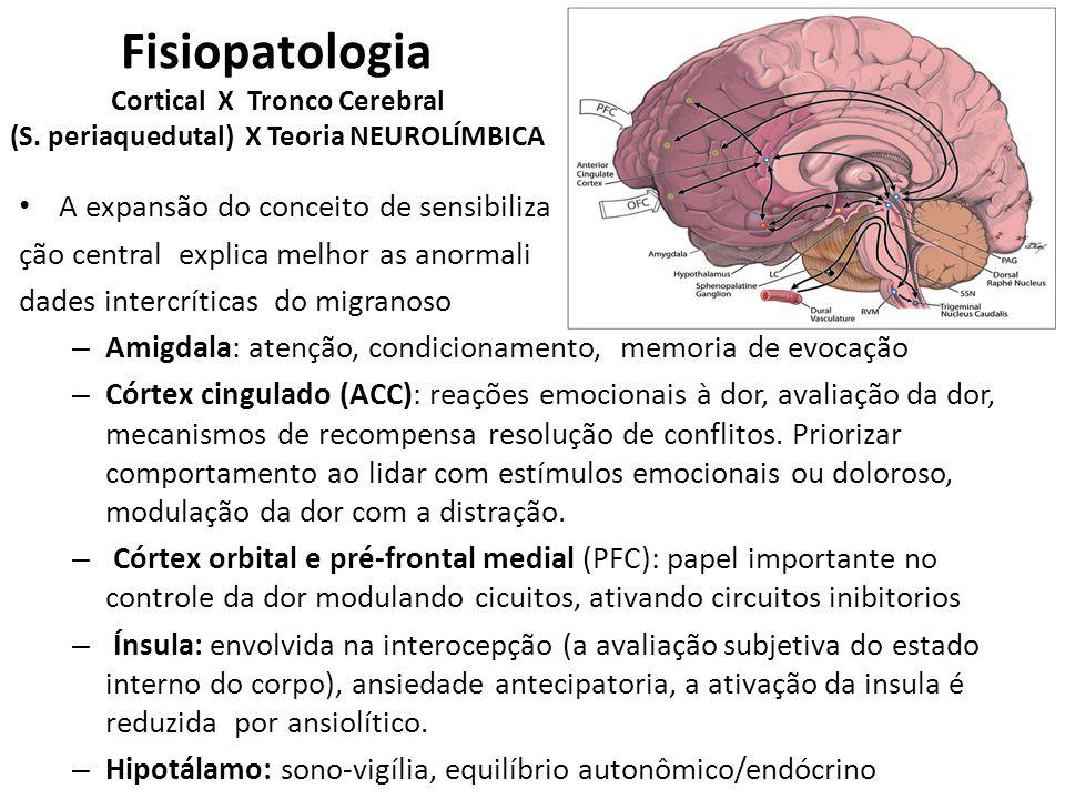 Circuitos mesencefálicos + sistema límbico influenciam fortemente a modulação da dor O modelo neurolímbico expande o conceito de sensibilização central que não fica restrita ao tronco cerebral e aos neurônios trigeminais Fisiopatologia: Cortical X Tronco Cerebral (S.