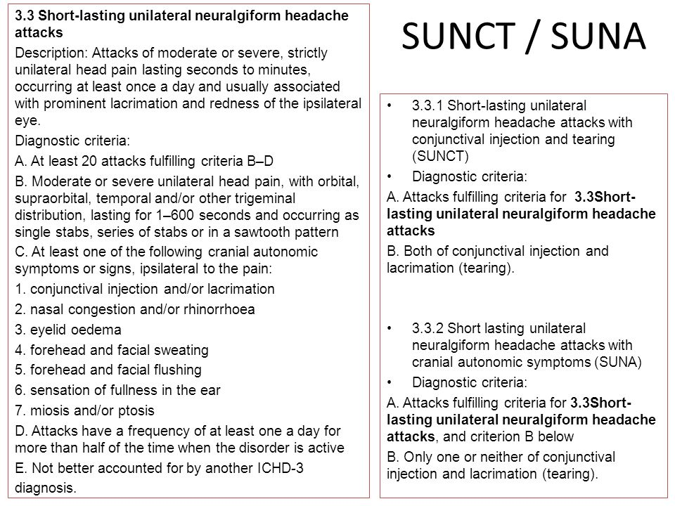 SUNCT / SUNA 3.3 Short-lasting unilateral neuralgiform headache attacks Description: Attacks of moderate or severe, strictly unilateral head pain last