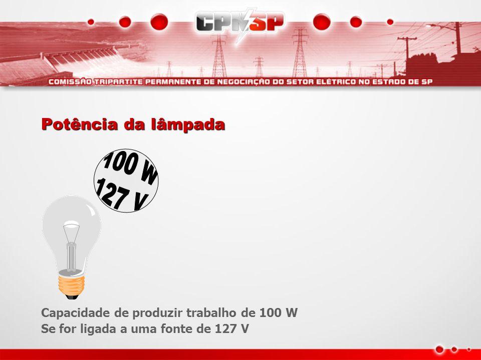 Potência da lâmpada Capacidade de produzir trabalho de 100 W Se for ligada a uma fonte de 127 V