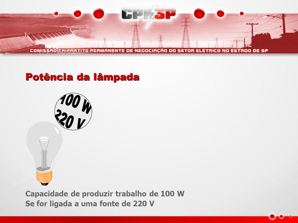 Potência da lâmpada Capacidade de produzir trabalho de 100 W Se for ligada a uma fonte de 220 V