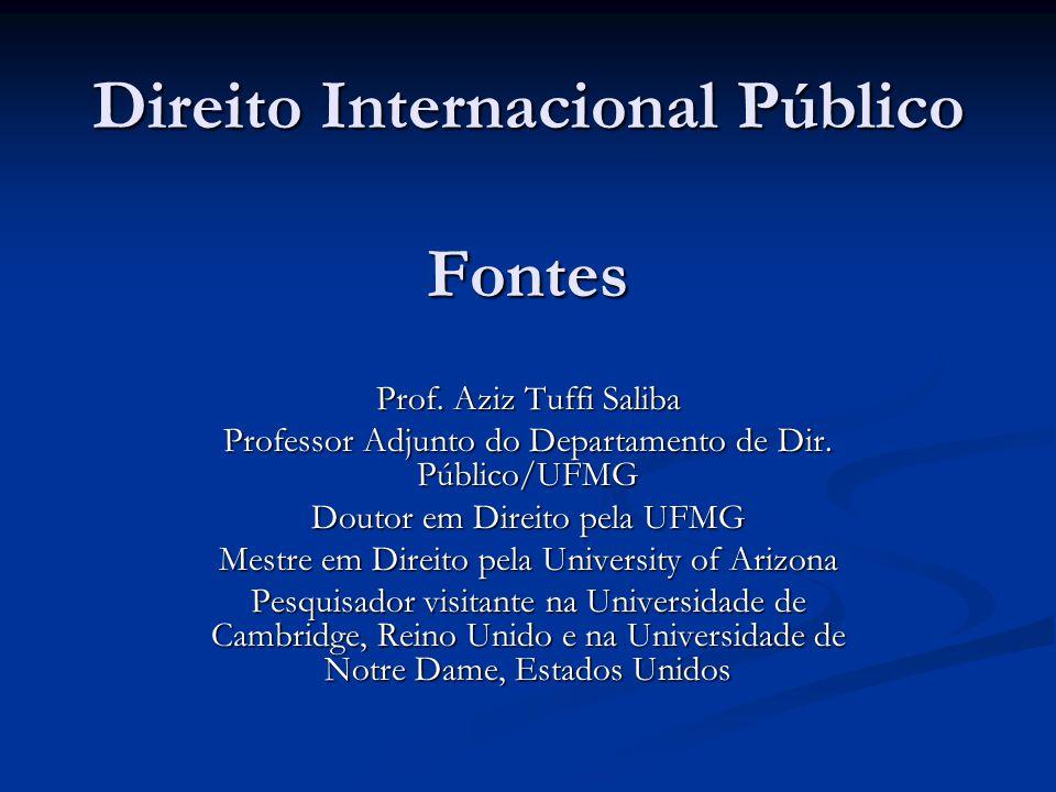 Direito Internacional Público Fontes Prof. Aziz Tuffi Saliba Professor Adjunto do Departamento de Dir. Público/UFMG Doutor em Direito pela UFMG Mestre