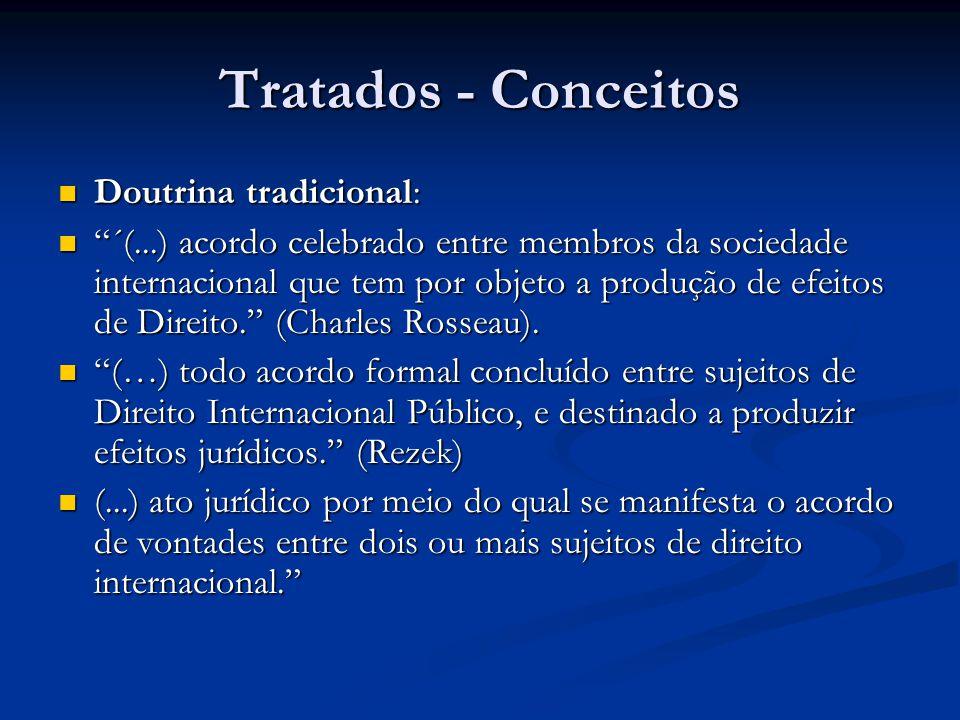 Tratados - Conceitos Doutrina tradicional: Doutrina tradicional: ´(...) acordo celebrado entre membros da sociedade internacional que tem por objeto a