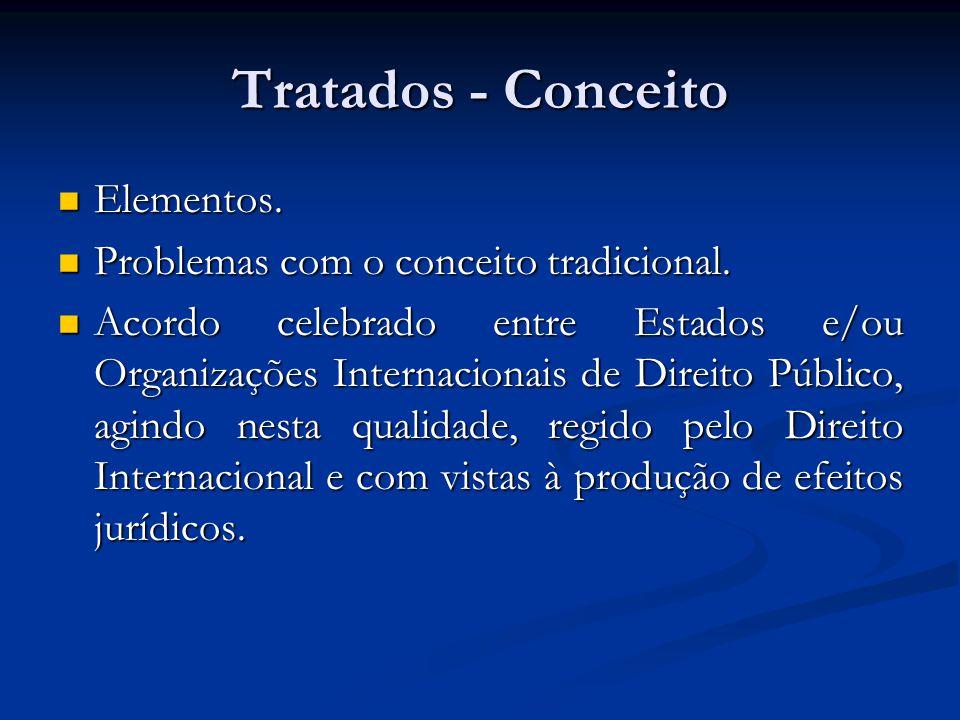 Tratados - Conceito Elementos. Elementos. Problemas com o conceito tradicional. Problemas com o conceito tradicional. Acordo celebrado entre Estados e