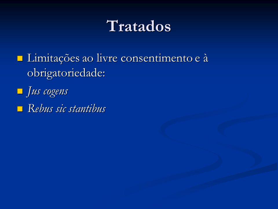 Tratados Limitações ao livre consentimento e à obrigatoriedade: Limitações ao livre consentimento e à obrigatoriedade: Jus cogens Jus cogens Rebus sic