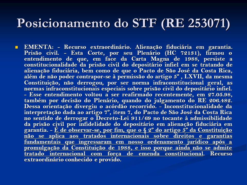 Posicionamento do STF (RE 253071) EMENTA: - Recurso extraordinário. Alienação fiduciária em garantia. Prisão civil. - Esta Corte, por seu Plenário (HC