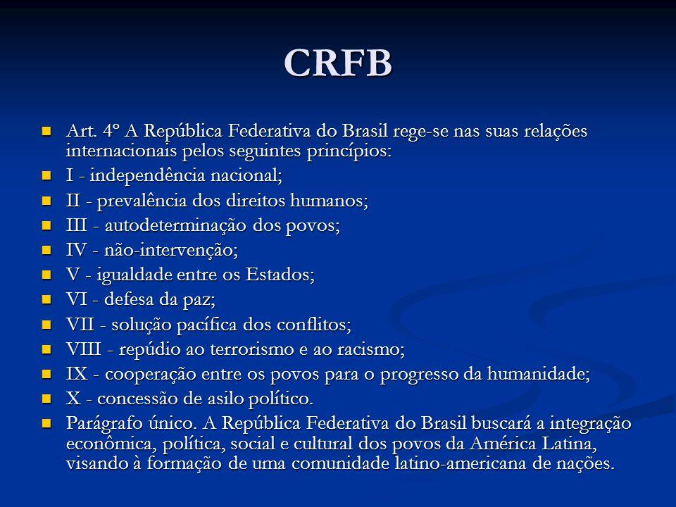 CRFB Art. 4º A República Federativa do Brasil rege-se nas suas relações internacionais pelos seguintes princípios: Art. 4º A República Federativa do B