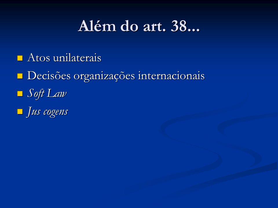 Além do art. 38... Atos unilaterais Atos unilaterais Decisões organizações internacionais Decisões organizações internacionais Soft Law Soft Law Jus c
