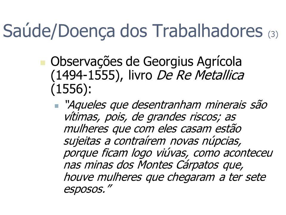Saúde/Doença dos Trabalhadores (3) Observações de Georgius Agrícola (1494-1555), livro De Re Metallica (1556): Aqueles que desentranham minerais são v