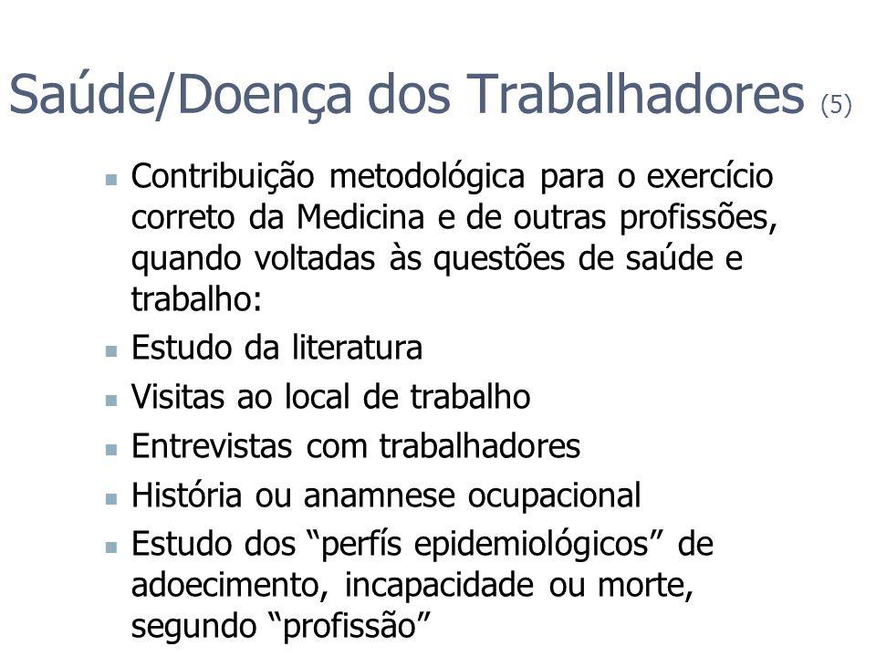 Saúde/Doença dos Trabalhadores (5) Contribuição metodológica para o exercício correto da Medicina e de outras profissões, quando voltadas às questões