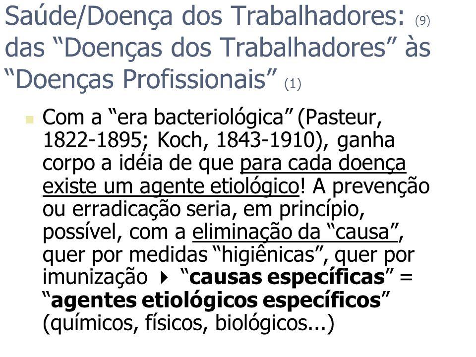 Saúde/Doença dos Trabalhadores: (9) das Doenças dos Trabalhadores às Doenças Profissionais (1) Com a era bacteriológica (Pasteur, 1822-1895; Koch, 184
