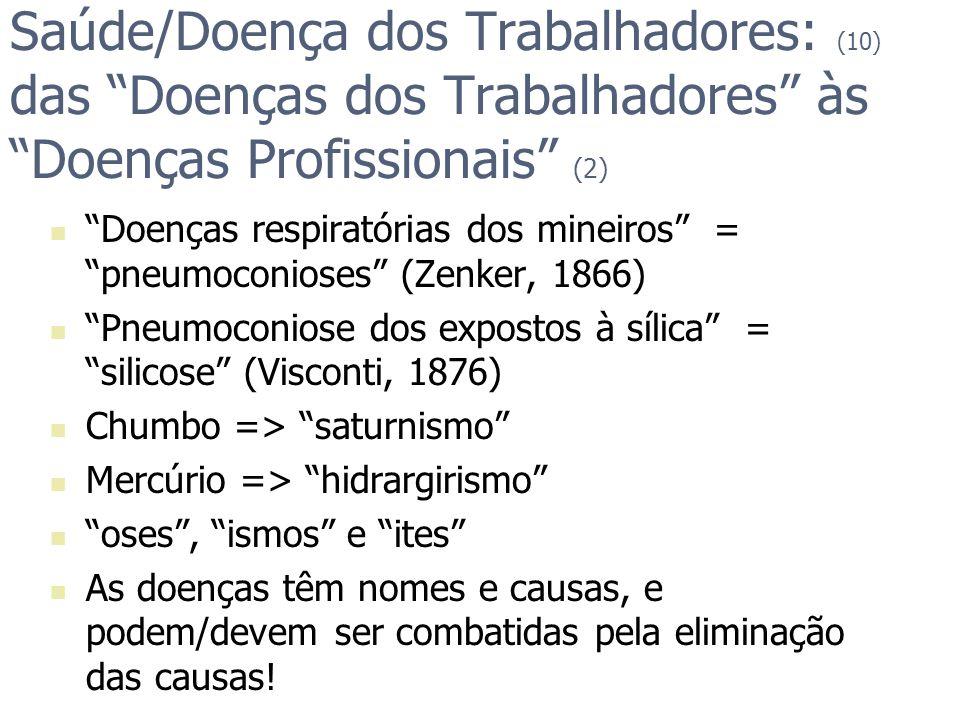 Saúde/Doença dos Trabalhadores: (10) das Doenças dos Trabalhadores às Doenças Profissionais (2) Doenças respiratórias dos mineiros = pneumoconioses (Z