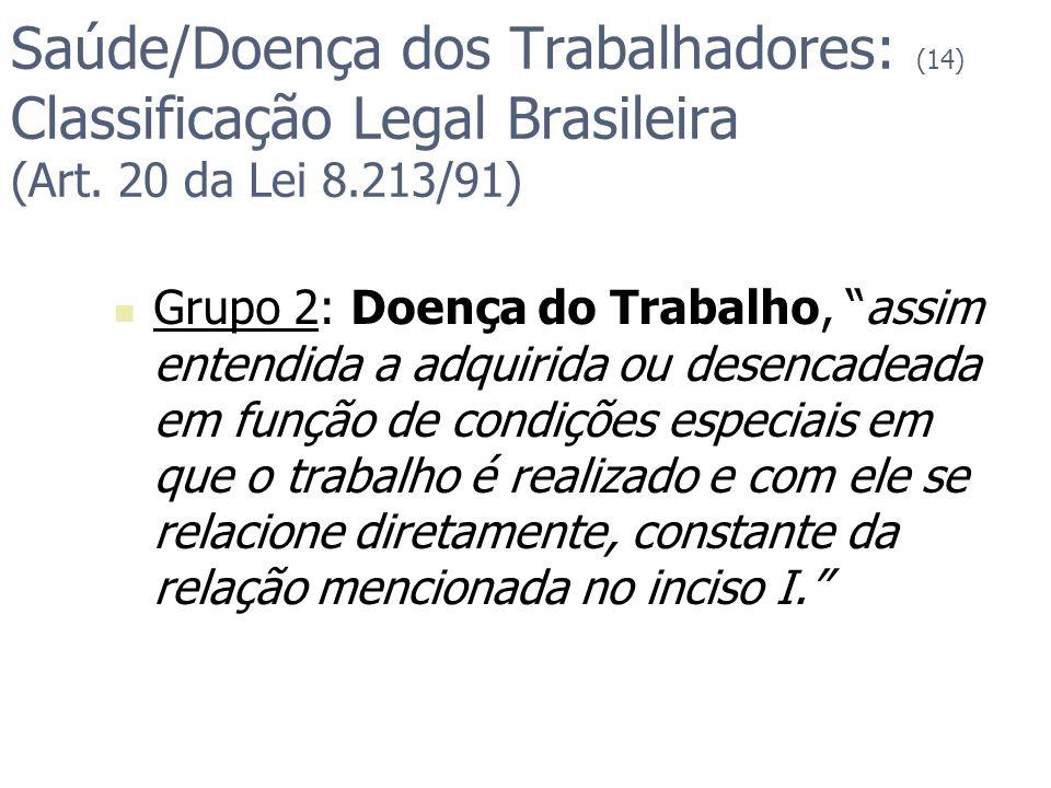 Saúde/Doença dos Trabalhadores: (14) Classificação Legal Brasileira (Art. 20 da Lei 8.213/91) Grupo 2: Doença do Trabalho, assim entendida a adquirida