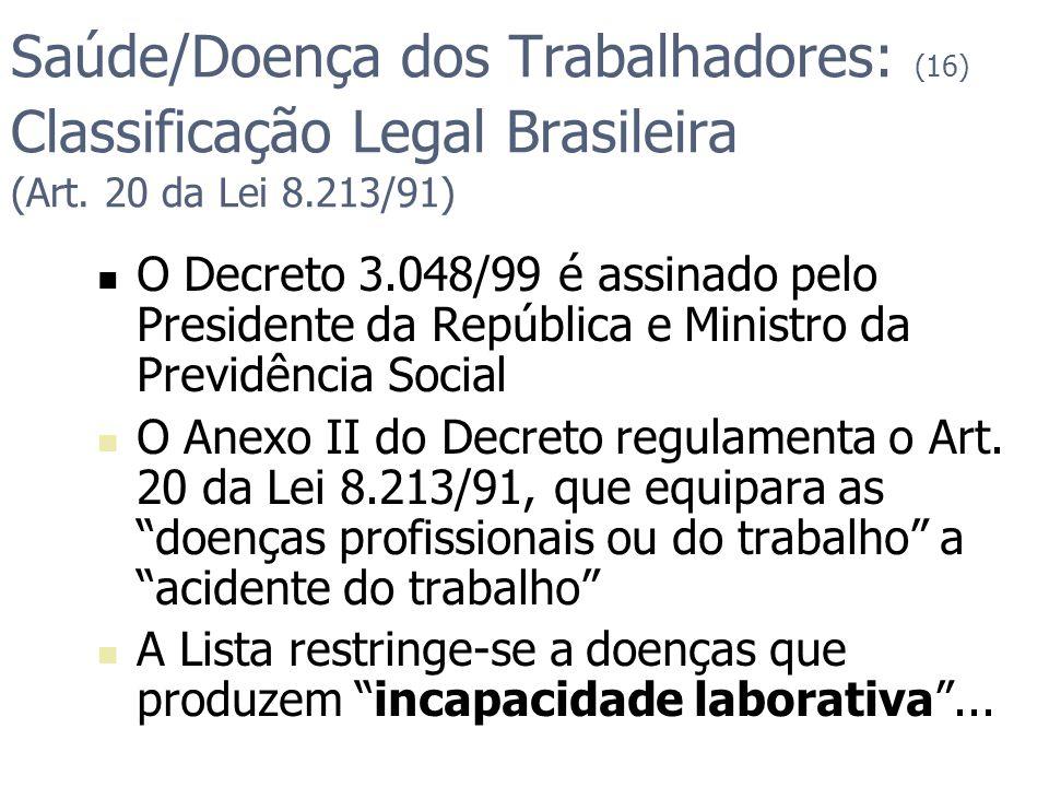 Saúde/Doença dos Trabalhadores: (16) Classificação Legal Brasileira (Art. 20 da Lei 8.213/91) O Decreto 3.048/99 é assinado pelo Presidente da Repúbli
