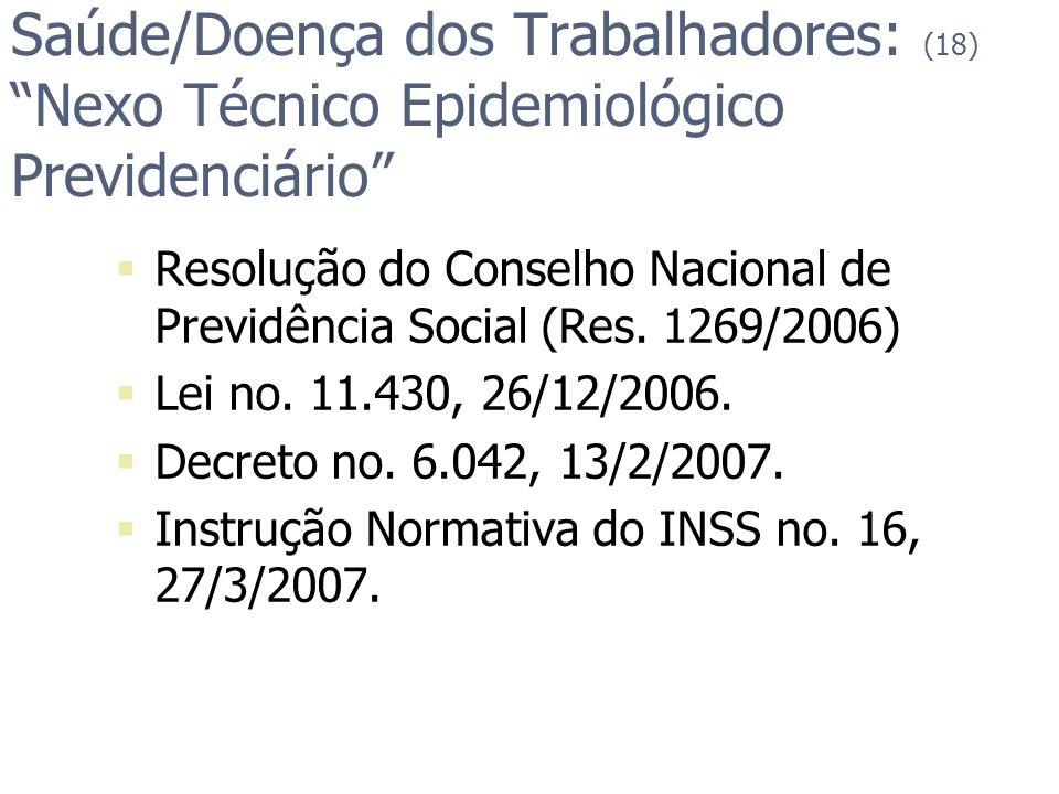Saúde/Doença dos Trabalhadores: (18) Nexo Técnico Epidemiológico Previdenciário Resolução do Conselho Nacional de Previdência Social (Res. 1269/2006)