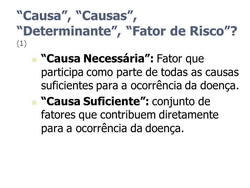 Causa, Causas, Determinante, Fator de Risco? (1) Causa Necessária: Fator que participa como parte de todas as causas suficientes para a ocorrência da