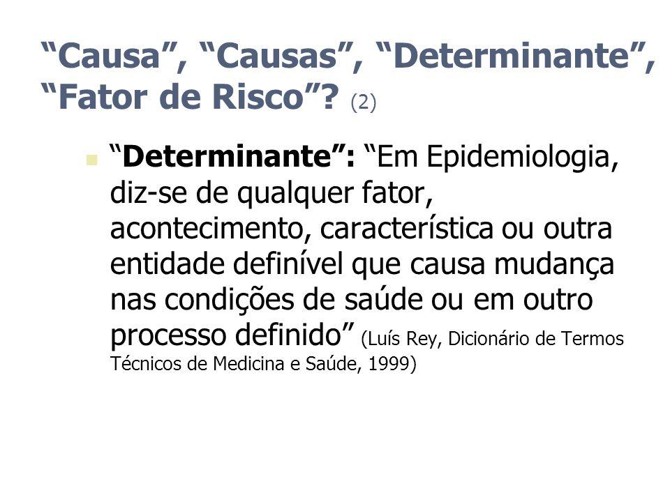Causa, Causas, Determinante, Fator de Risco? (2) Determinante: Em Epidemiologia, diz-se de qualquer fator, acontecimento, característica ou outra enti