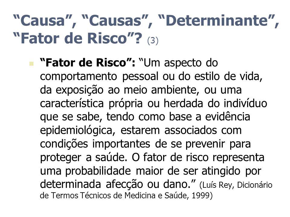 Causa, Causas, Determinante, Fator de Risco? (3) Fator de Risco: Um aspecto do comportamento pessoal ou do estilo de vida, da exposição ao meio ambien