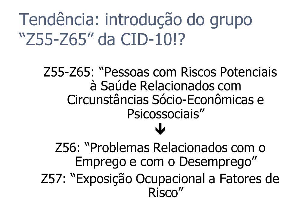 Tendência: introdução do grupo Z55-Z65 da CID-10!? Z55-Z65: Pessoas com Riscos Potenciais à Saúde Relacionados com Circunstâncias Sócio-Econômicas e P