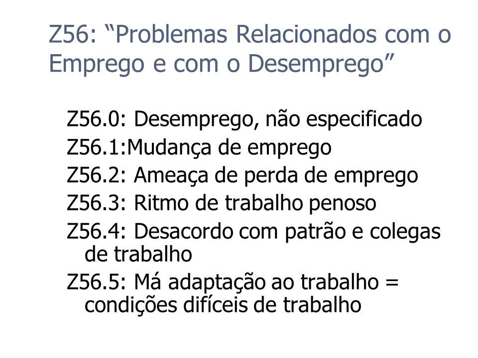 Z56: Problemas Relacionados com o Emprego e com o Desemprego Z56.0: Desemprego, não especificado Z56.1:Mudança de emprego Z56.2: Ameaça de perda de em
