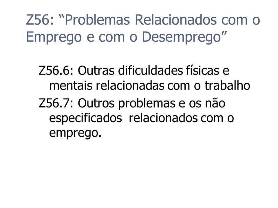Z56: Problemas Relacionados com o Emprego e com o Desemprego Z56.6: Outras dificuldades físicas e mentais relacionadas com o trabalho Z56.7: Outros pr