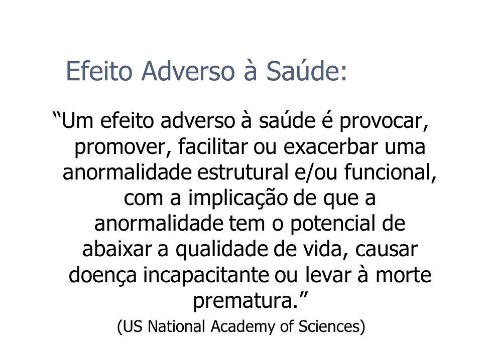 Efeito Adverso à Saúde: Um efeito adverso à saúde é provocar, promover, facilitar ou exacerbar uma anormalidade estrutural e/ou funcional, com a impli