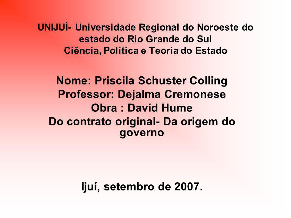 David Hume Do Contrato Original- Da Origem do governo