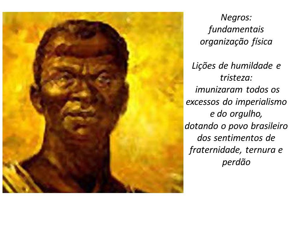Negros: fundamentais organização física Lições de humildade e tristeza: imunizaram todos os excessos do imperialismo e do orgulho, dotando o povo bras