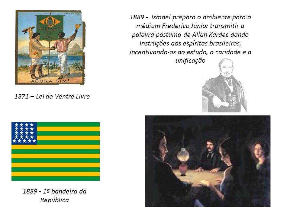 1871 – Lei do Ventre Livre 1889 - 1ª bandeira da República 1889 - Ismael prepara o ambiente para o médium Frederico Júnior transmitir a palavra póstum