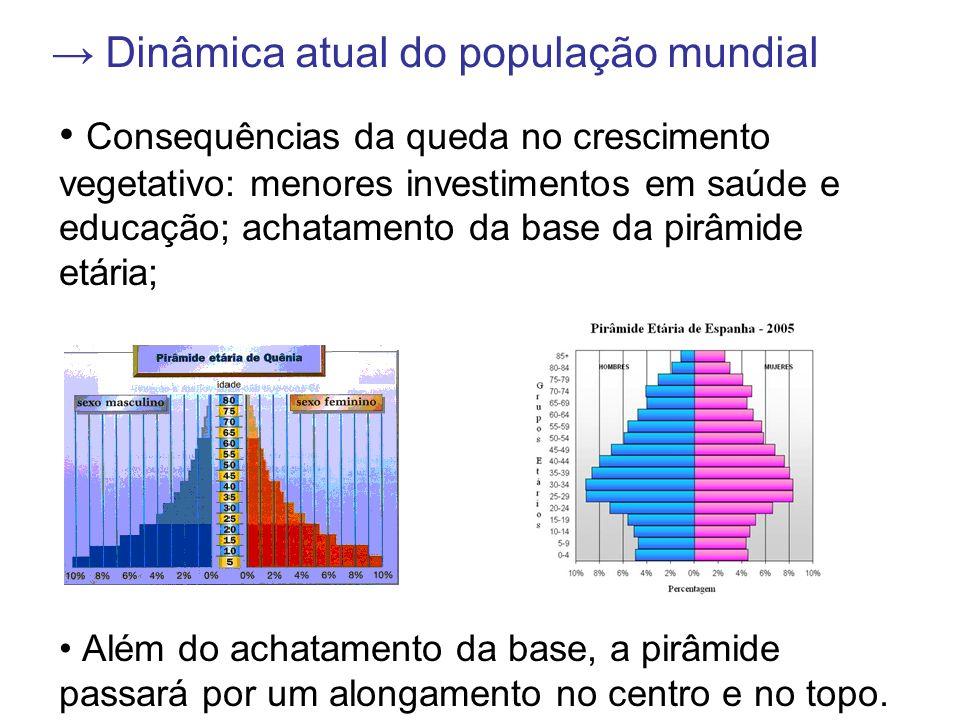 Dinâmica atual do população mundial Consequências da queda no crescimento vegetativo: menores investimentos em saúde e educação; achatamento da base da pirâmide etária; Além do achatamento da base, a pirâmide passará por um alongamento no centro e no topo.