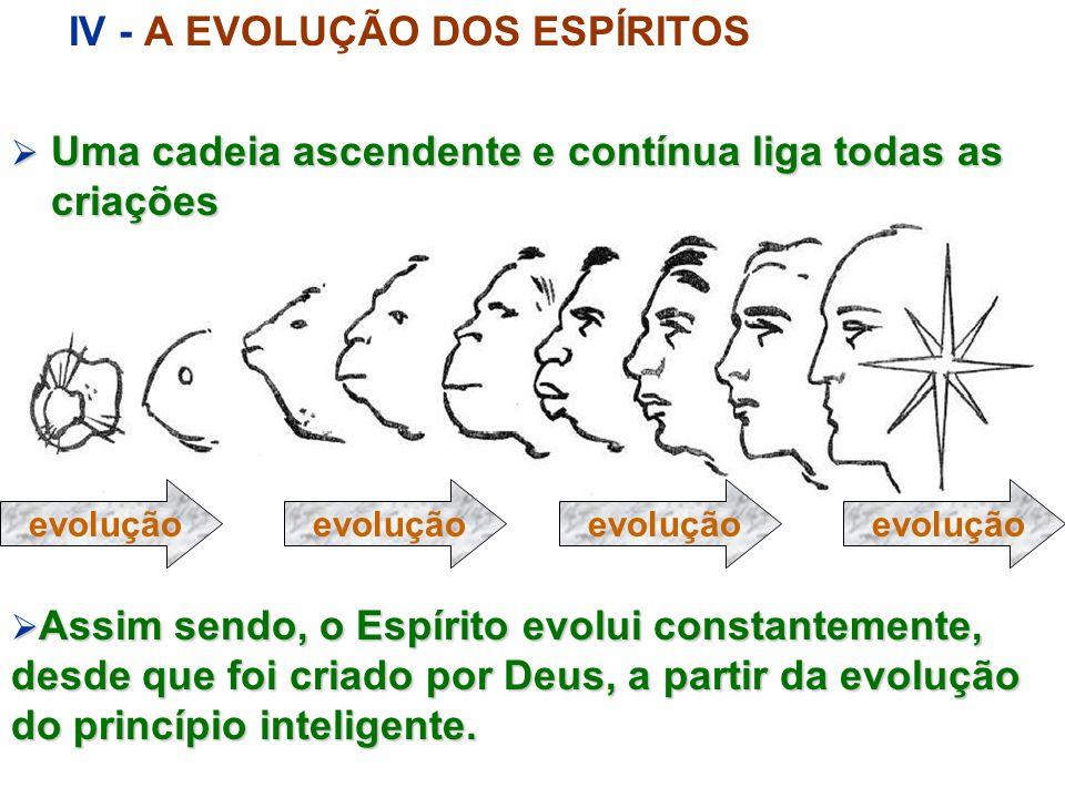 III - A EVOLUÇÃO DO PRINCÍPIO INTELIGENTE O Princípio Inteligente evolui, apreendendo com a evolução da matéria e dos seres vivos Do Princípio Inteligente evoluído, Deus individualiza o Espírito