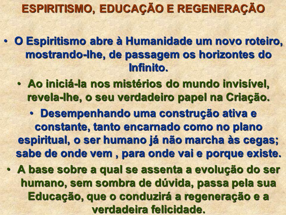 ESPIRITISMO, EDUCAÇÃO E REGENERAÇÃO O Espiritismo abre à Humanidade um novo roteiro, mostrando-lhe, de passagem os horizontes do Infinito.O Espiritismo abre à Humanidade um novo roteiro, mostrando-lhe, de passagem os horizontes do Infinito.